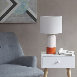 Urban Habitat Bailey Orange Table Lamp with White Drum Shade