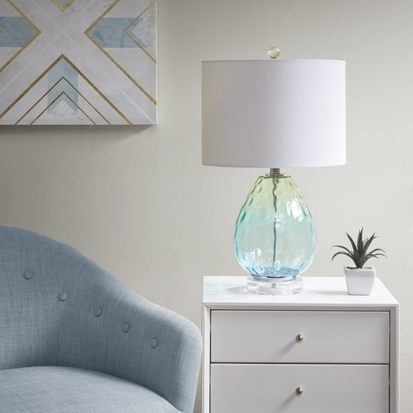 Urban Habitat Borel Blue 23.5-inch Table Lamp with White Drum Shade