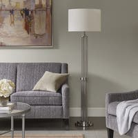 Madison Park Signature Kingston Silver 63.75-inch Floor Lamp with White Drum Shaped Shade