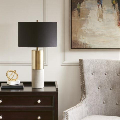 Madison Park Signature Fulton Gold/ Black 27.5-inch Table Lamp with Black Drum Shaped Shade