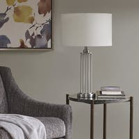 Madison Park Signature Kingston Silver 27.25-inch Table Lamp with White Drum Shaped Shade