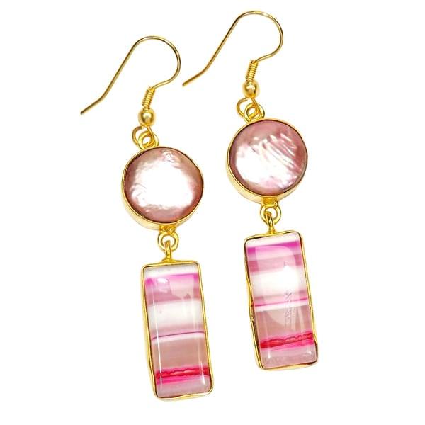 Handmade Gold-overlay Biwa Pearl & Pink Lace Agate Earrings (India)