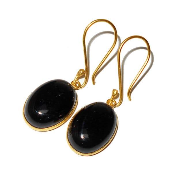 Handmade Gold-overlay Black Onyx Earrings (India). Opens flyout.