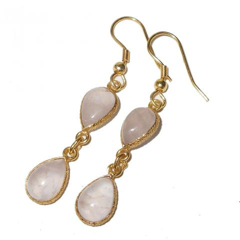 Handmade Gold-Overlay Rose Quartz Earrings (India)