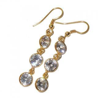 Handmade Gold-Overlay White Cubic Zircon Earrings (India)