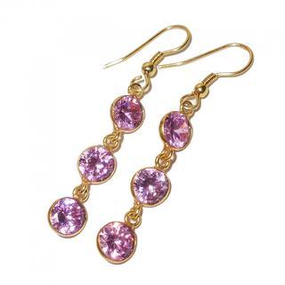 Handmade Gold-Overlay Pink Cubic Zircon Earrings (India)