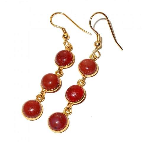 Handmade Gold-Overlay Carnelian Earrings (India) - Orange
