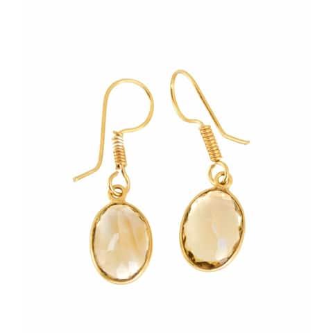 Handmade Gold-overlay Citrine Earrings (India)