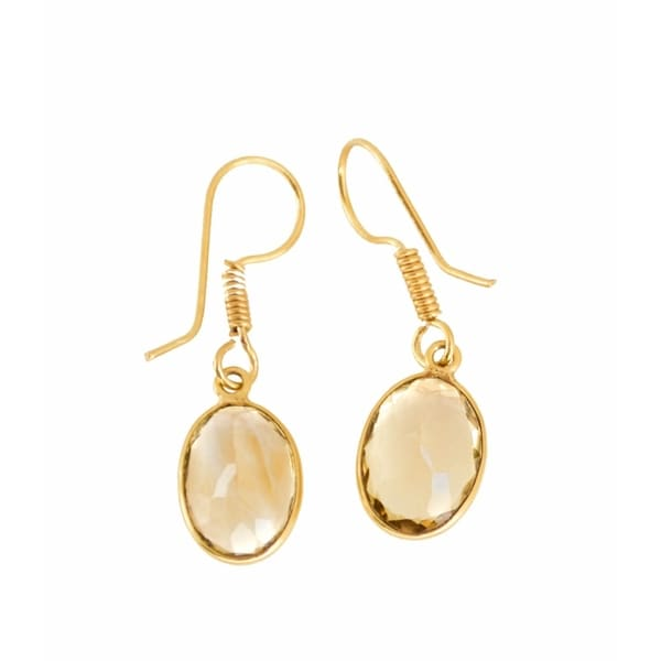 Handmade Gold-overlay Citrine Earrings (India)