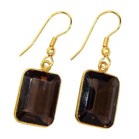 Handmade Gold-Overlay Smoky Quartz Earrings (India) - Brown