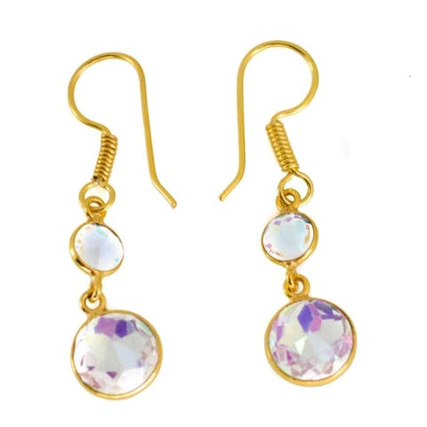 Handmade Gold-Overlay Rainbow Mystic Earrings (India)