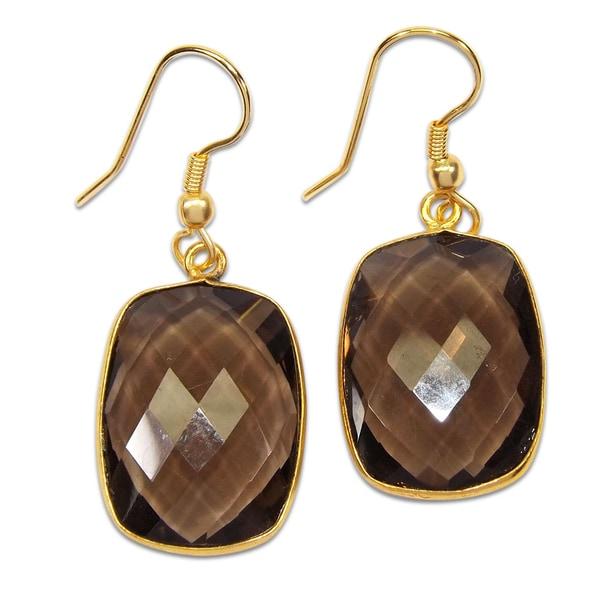 Handmade Gold Overlay Smoky Quartz Earrings India Brown