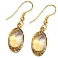 Handmade Gold-overlay Citrine Earrings (India) - Yellow