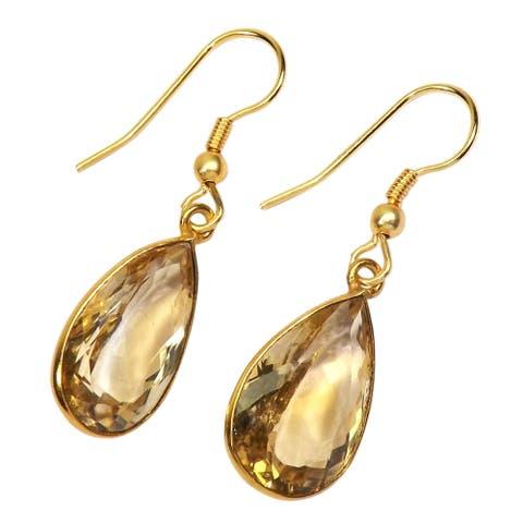 Handmade Gold-overlay Citrine Earrings (India) - Yellow