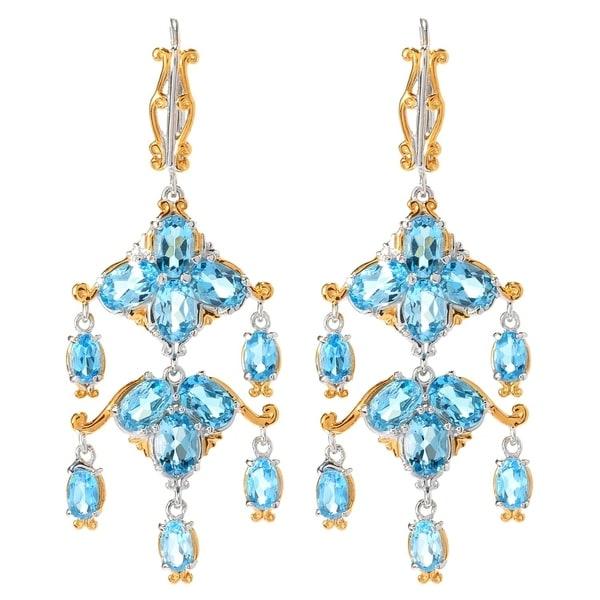 Michael Valitutti Palladium Silver Swiss Blue Topaz Chandelier Earrings