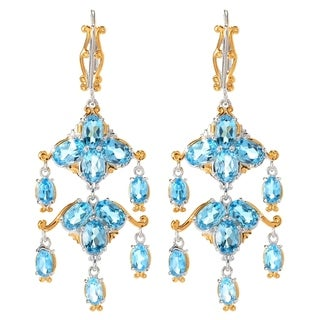 Michael Valitutti Palladium Silver Swiss Blue Topaz Chandelier Earrings