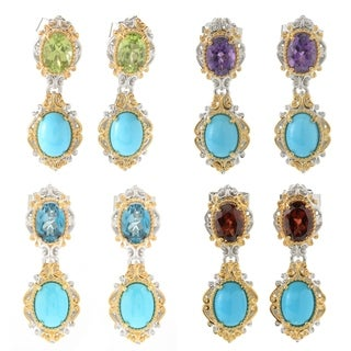 Michael Valitutti Palladium Silver Sleeping Beauty Turquoise & Gemstone Drop Earrings