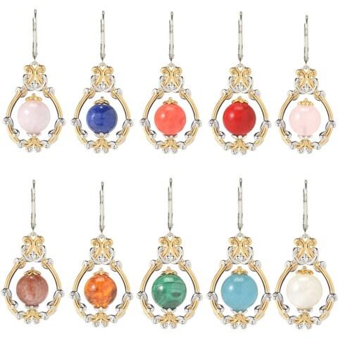 Michael Valitutti Palladium Silver Gemstone Bead Scrollwork Frame Drop Earrings