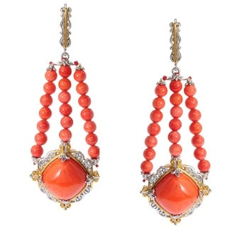 Michael Valitutti Palladium Silver Salmon Bamboo Coral Beaded Strand Drop Earrings