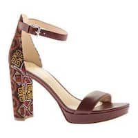 Women's Nine West Dempsey Dress Sandal Cognac/Cognac Multi Fabric