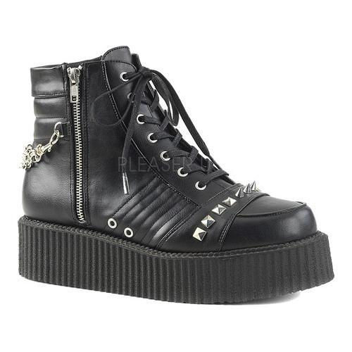 Men's Demonia V Creeper 565 Lace-Up Ankle Boot Black Vegan Leather