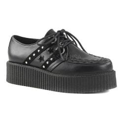 Men's Demonia V Creeper 538 Black Vegan Leather/Suede Textile