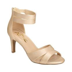 Women's A2 by Aerosoles Proclamation Ankle Strap Heel Gold Metallic Faux Leather