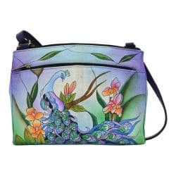 Women's ANNA by Anuschka Hand Painted Crossbody Organizer 8265 Midnight Peacock|https://ak1.ostkcdn.com/images/products/182/491/P22054919.jpg?impolicy=medium