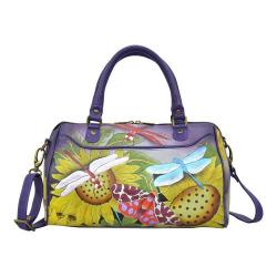 Women's ANNA by Anuschka Hand Painted Medium Zip Around Satchel 8275 Tuscan Paradise