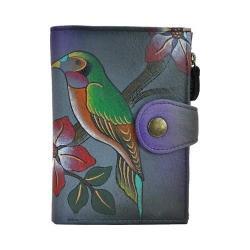 Women's ANNA by Anuschka Hand Painted Wallet 1700 Bird on a Branch Grey - Thumbnail 0