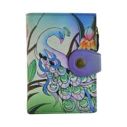 Women's ANNA by Anuschka Hand Painted Wallet 1700 Midnight Peacock