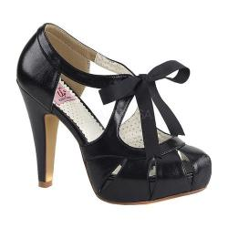 Women's Pin Up Bettie 19 Tie Front Pump Black Faux Leather