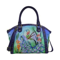 Women's ANNA by Anuschka Hand Painted Medium Studded Satchel 8176 Midnight Peacock