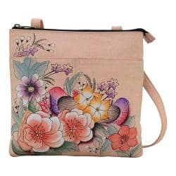Women's ANNA by Anuschka Hand Painted Multi Compartment Crossbody 8272 Vintage Garden|https://ak1.ostkcdn.com/images/products/182/697/P22073371.jpg?impolicy=medium