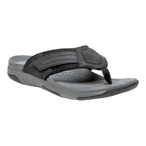 Men's Propet Bandon Thong Sandal Black Full Grain Leather