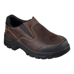 Women's Skechers Work Workshire Teays Steel Toe Slip-On Shoe Dark Brown