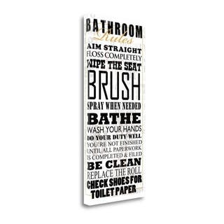 Bathroom Rules - White By Jim Baldwin, Gallery Wrap Canvas