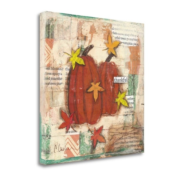 Thankful Pumpkins And Leaves By Cassandra Cushman, Gallery Wrap Canvas