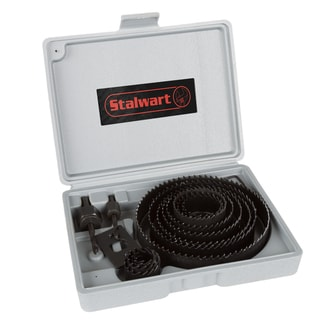 Hole Saw Set 16 Piece Kit With 12 Saws ( ¾-5 Inch),  Hex Key Wrench, Drive Plate and Storage Case by Stalwart