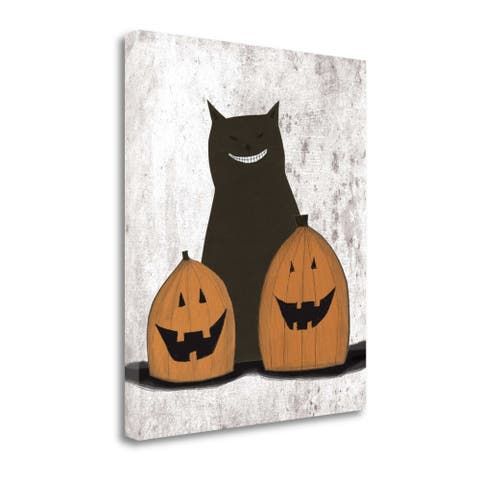 Cat And Pumpkins By Sarah Ogren, Gallery Wrap Canvas