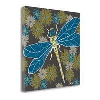 Dragonfly And Floral By Shanni Welsh,  Gallery Wrap Canvas