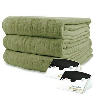 Biddeford 2033-905291-633 MicroPlush Electric Heated Blanket Queen Sage Green