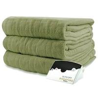Biddeford 2031-905291-633 MicroPlush Electric Heated Blanket Full Sage Green