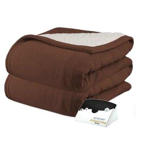 Biddeford 2060-9052140-711 MicroPlush Sherpa Electric Heated Blanket Twin Chocolate