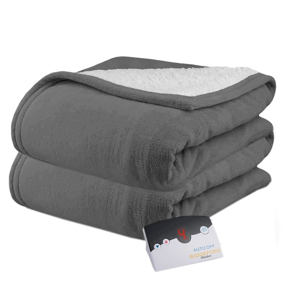 Shop Biddeford 2060 9052140 902 Microplush Sherpa Electric Heated Blanket Twin Grey Overstock 18211073