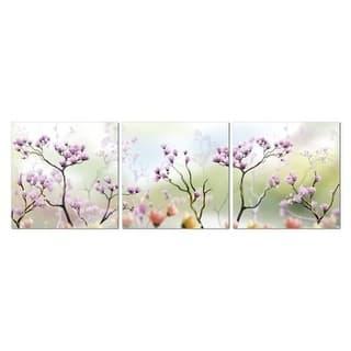 "Epic Graffiti 3 piece ""Blossom Daydream"" Acrylic Wall Art, 60"" x 20"""