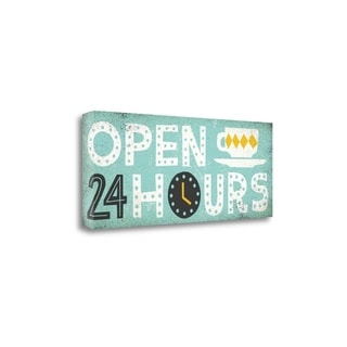 Retro Diner Open 24 Hours Panel By Michael Mullan,  Gallery Wrap Canvas