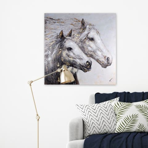 40x40 HORSE II, Acrylic Painting on Canvas Abstract Wall Art Decor Horses Animals Grey Gold Large XL