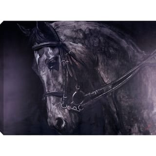 36x48 HORSE, Acrylic Painting on Canvas Abstract Wall Art Decor Horses Animals Grey Gold Large XL