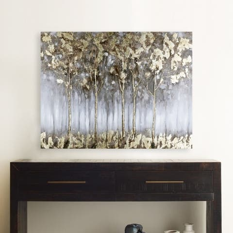 35.5x47 GOLDEN FOREST II, Acrylic Painting on Canvas Abstract Wall Art Decor Trees Landscape Gold Silver Grey Large XL